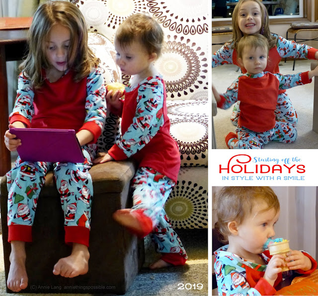 "You can still order your own ""Grammie Jammies"" featuring Annie Lang's whimsical Santa character design from Sew For Less at closeout prices!"