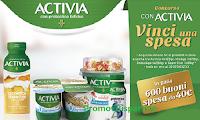 """Logo Concorso """"Con Activia vinci una spesa"""" : 600 buoni da 40€"""