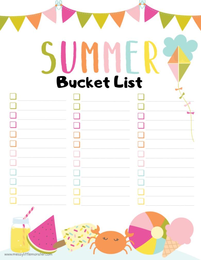 printable blank summer bucket list