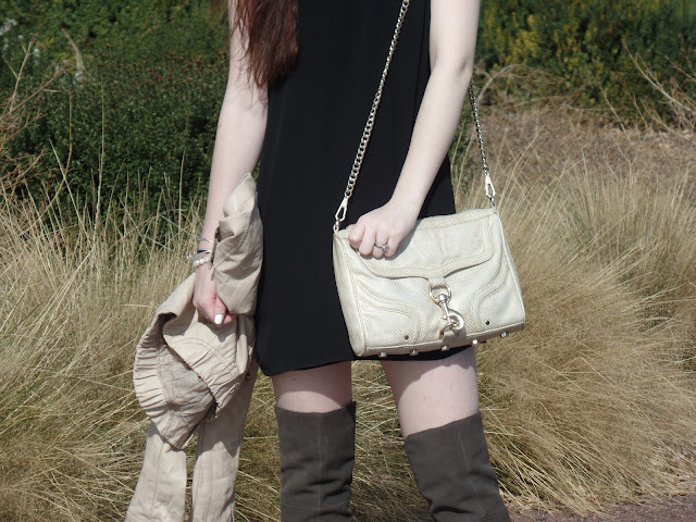 neutral colored outfit- black dress with Rebecca Minkoff Mac and over the knee boots