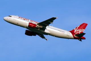 Virgin America Airbus departs Seattle-Tacoma International Airport (SEA)
