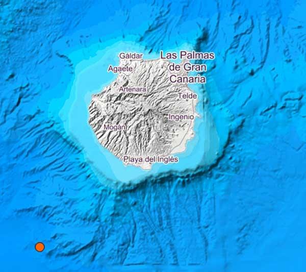Se registra terremoto en la madrugada del 3 de noviembre 2018 en aguas del Atlántico Canarias, en el suroeste de Gran Canaria, magnitud 3, 7 grados