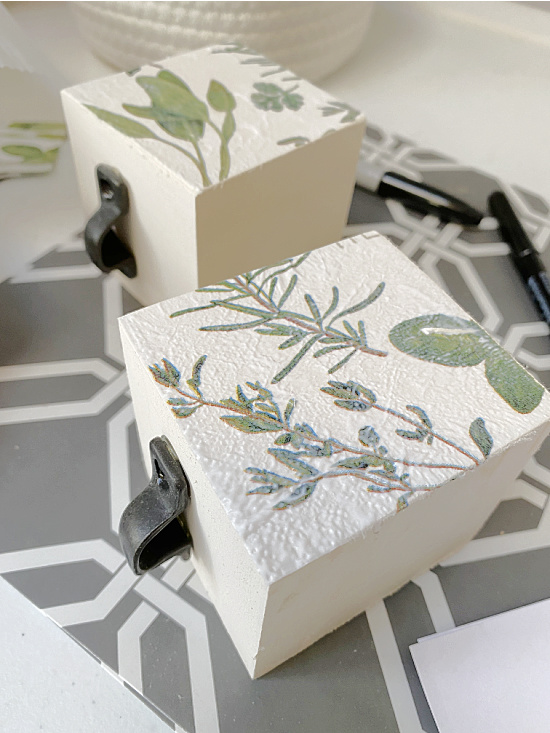 decoupaged drawer sides with herb napkins