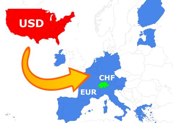 Devisen Weltkarte Kapitalströme Schweizer Franken, Euro, US-Dollar