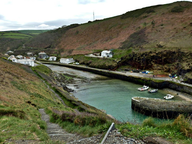 Looking from the harbour inland from Boscastle harbour, Cornwall