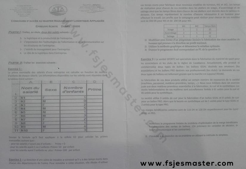 Exemple Concours Master Management Logistique Appliquée 2018-2019 - Fsjes Mohammedia