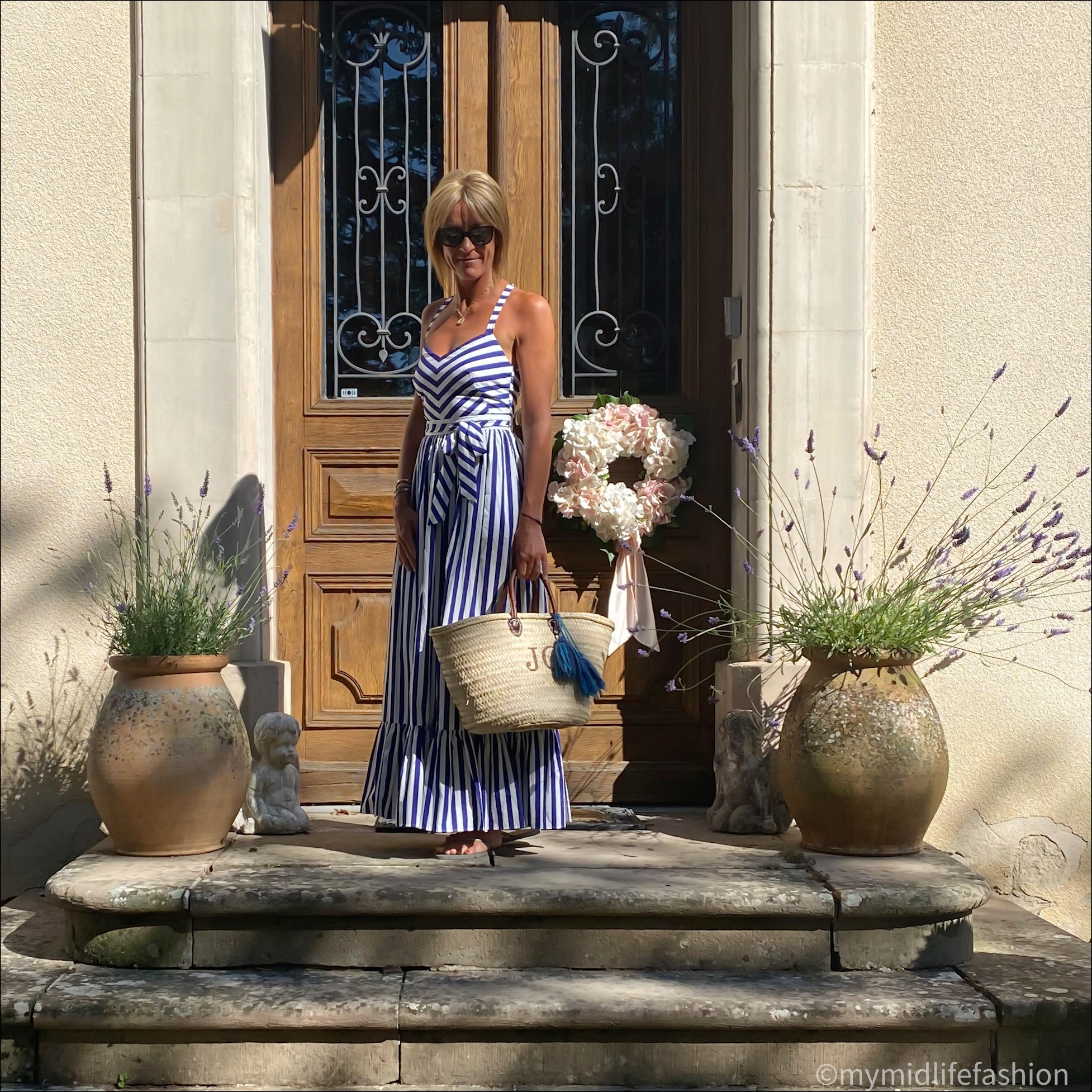 my midlife fashion, j crew stripe maxi dress, initially London covent hand basket