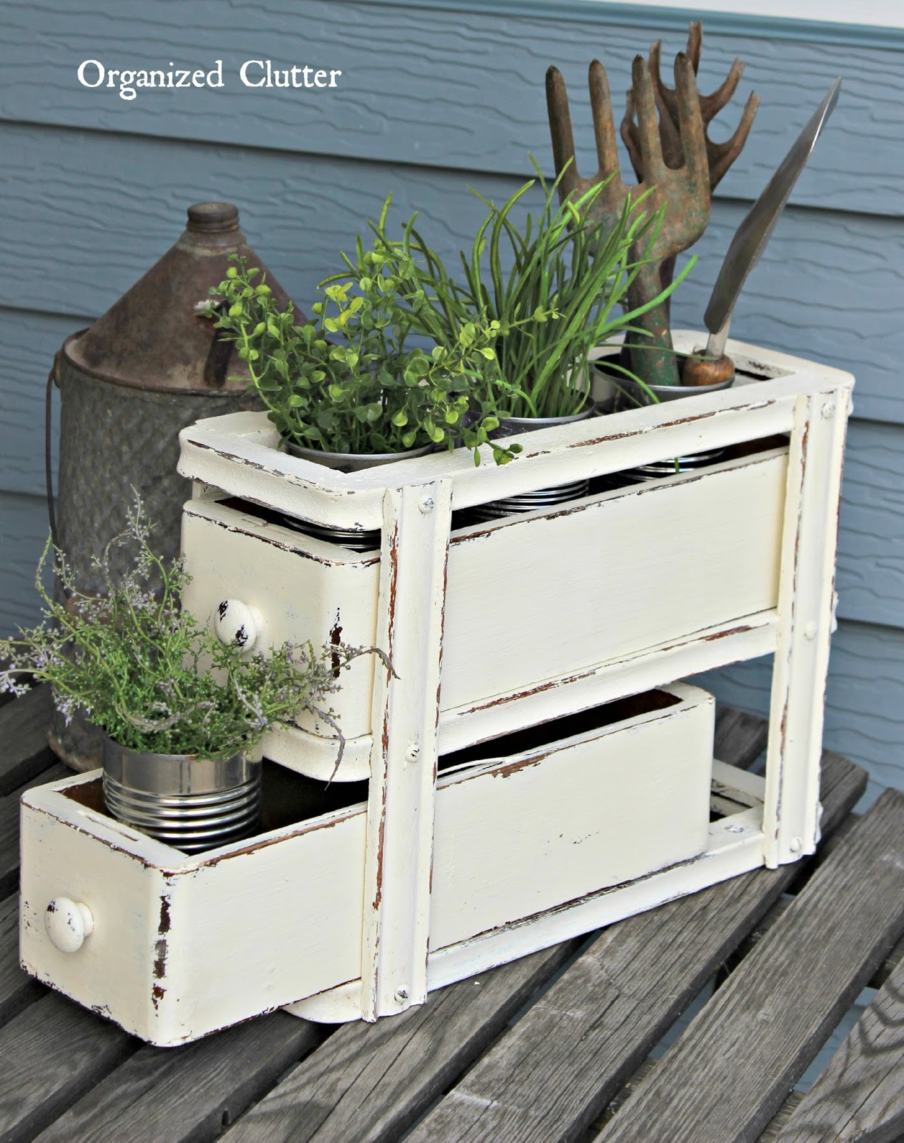 Sewing machine drawers re purposed as plant holder organized clutter - Four ways to repurpose an old sewing machine ...