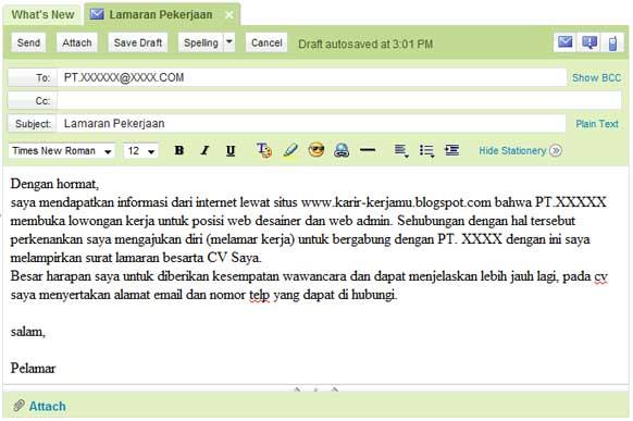 Contoh Subject Email Lamaran Kerja Bahasa Inggris