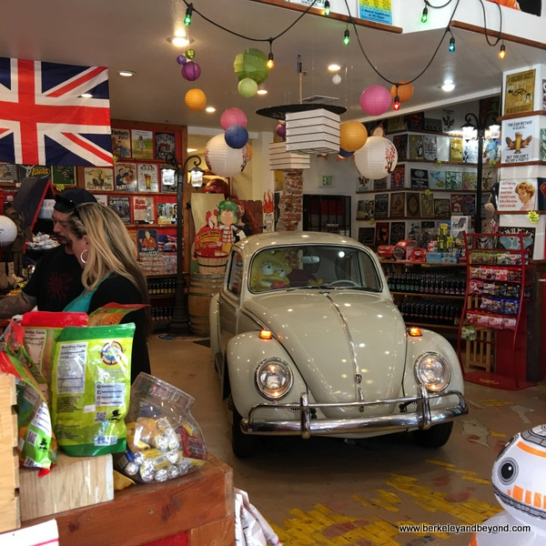 VW Bug parked inside Rocket Fizz candy shop near Bubblegum Alley in San Luis Obispo, California