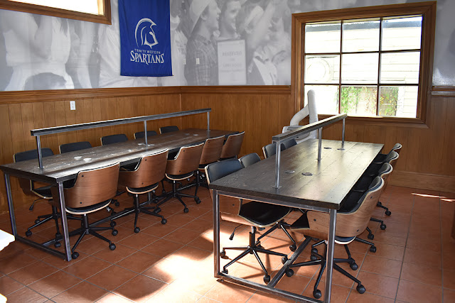 reclaimed wood tables for a Langley college