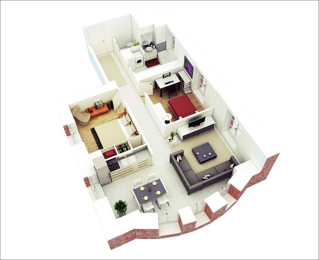 Planta de casa com sala e cozinha unidas