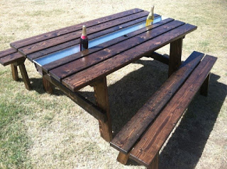 The Rusty Roost Ultimate Party Picnic table with ice cooler center