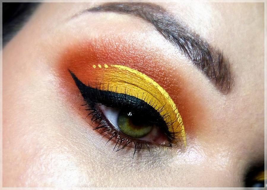 augen make up cut crease orangen gelb