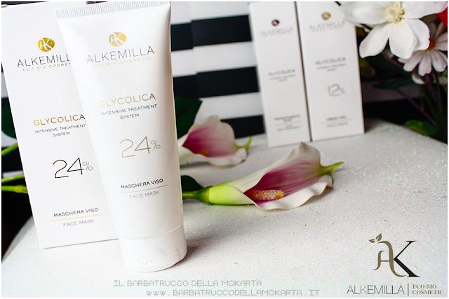 maschera viso 24 come usarla trattamento acido glicolico GLYCOLICA alkemilla cosmetics
