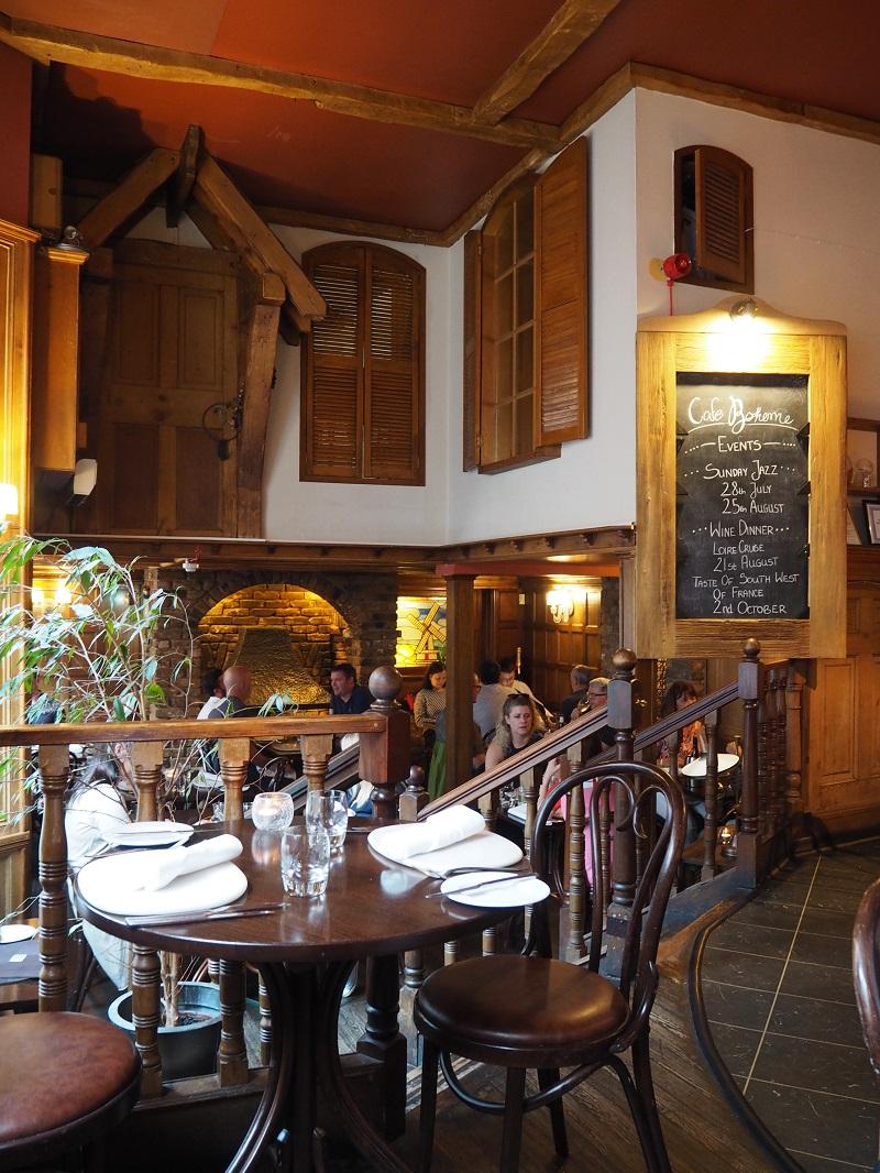 Rustic interiors at Cafe Boheme