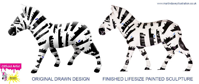 ABP design Zebra to completed sculpture