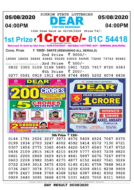Lottery Sambad Result 05.08.2020 Dear Fortune Wednesday 4:00 pm
