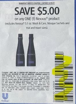 """Nexxus coupon Coupon from """"SAVE"""" insert week of 9/12/21."""