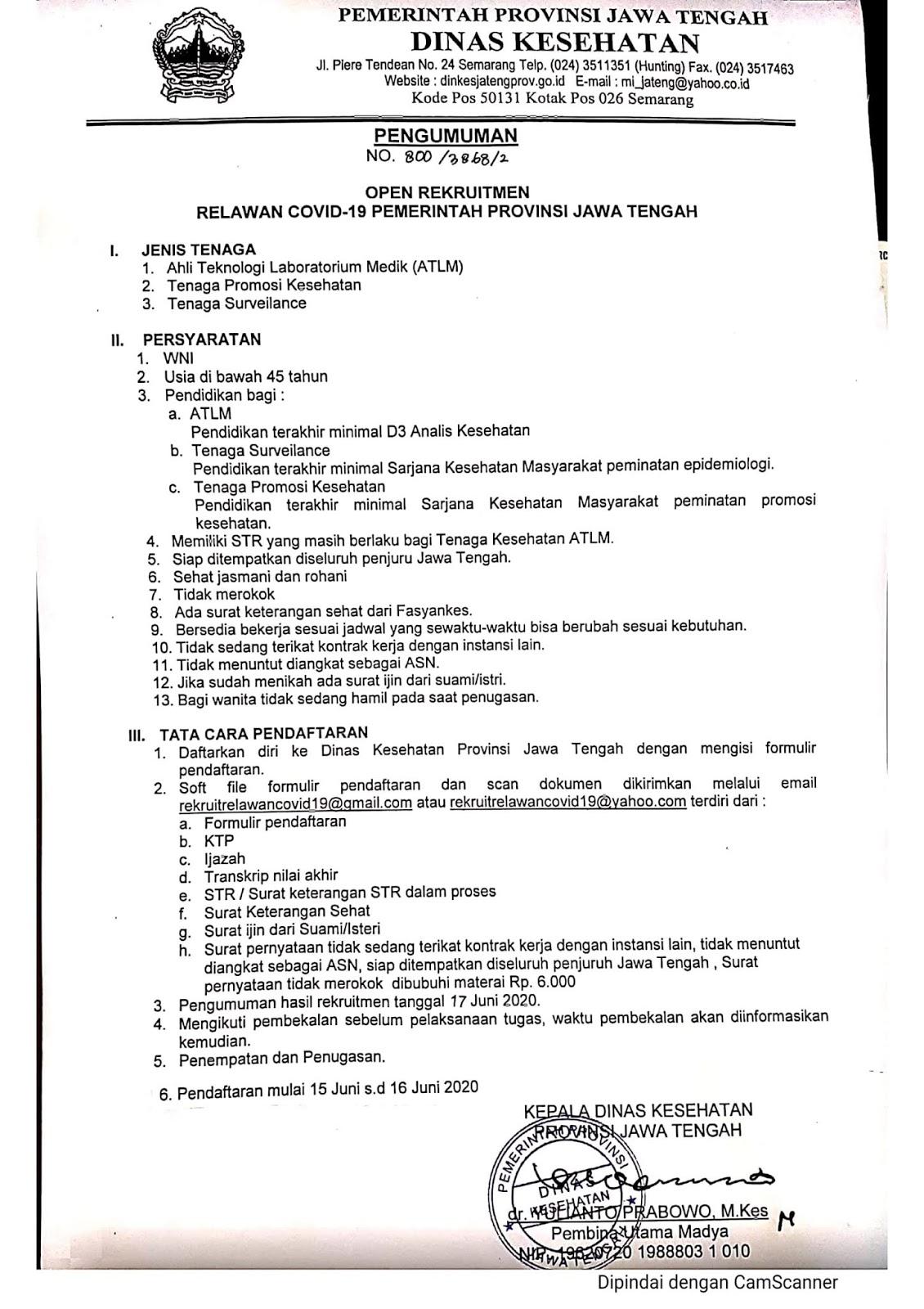Rekrutmen Relawan Tenaga Kesehatan Pemprov Jateng Juni 2020
