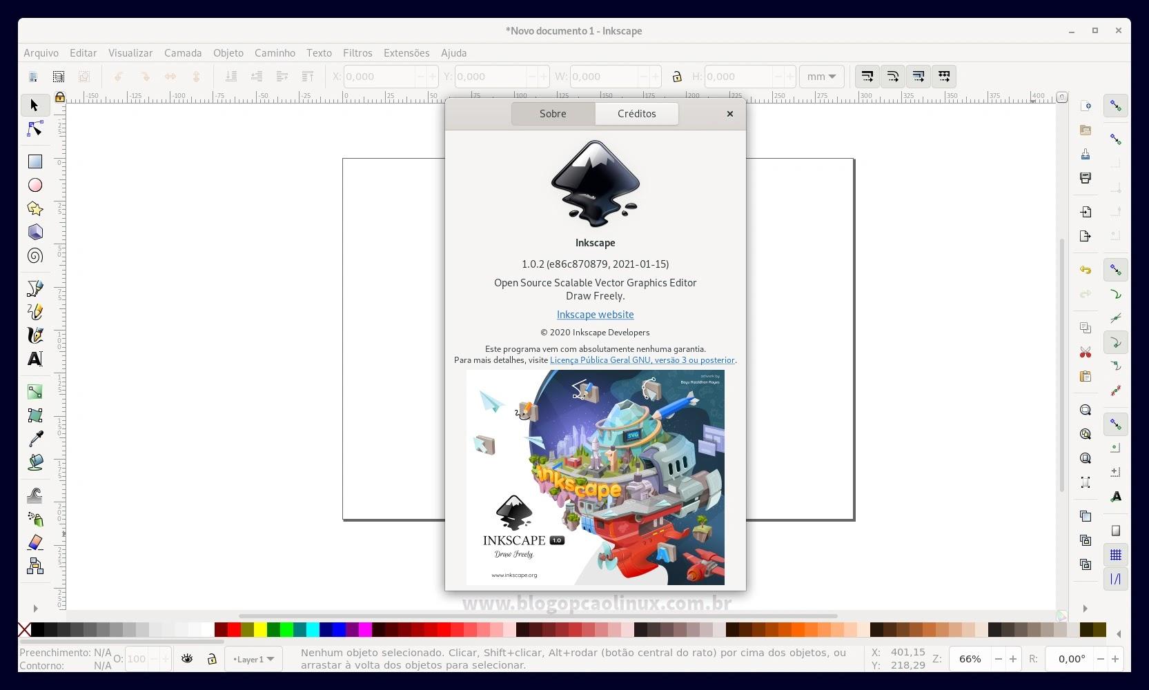 Inkscape executando no Debian 11 Bullseye