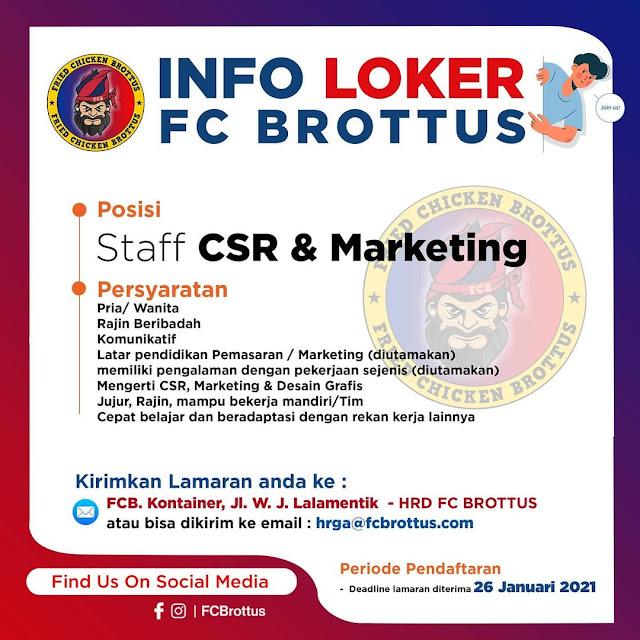 Loker Kupang Staff CSR dan Marketing di FC Brottus