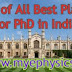 List of All Best Places for PhD in India