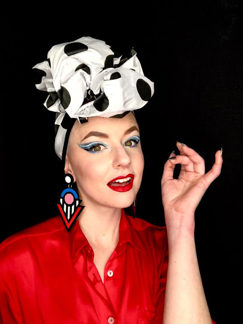 vintage headwear, vintage women's headwear, how to wear vintage head scarf, pinup headwear,