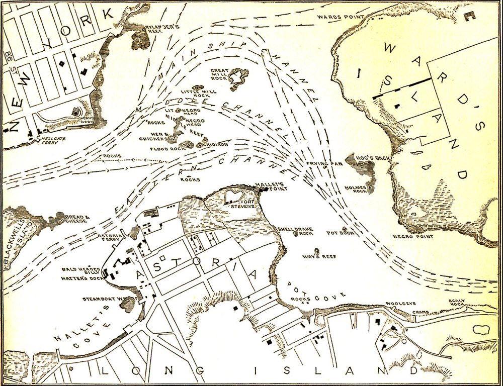 Hell Gate channel in 1871.