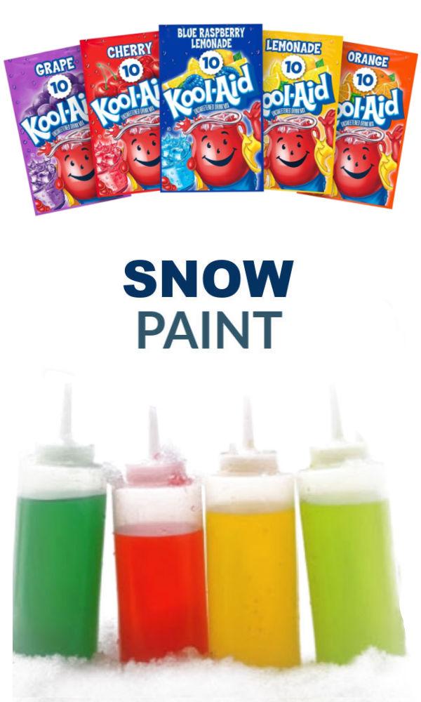 Easy to make squirty snow paint for kids winter fun! #snow #snowpaint #winterartprojectsforkids #growingajeweledrose #activitiesforkids