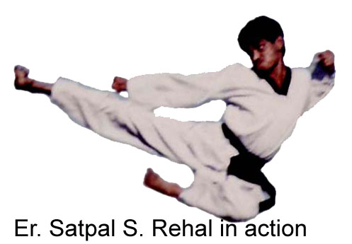 Master Er. Satpal Singh Rehal in Tkd action doing Taekwondo Jump & Flying Kick (Twio Yeop Chagi), Garhshankar, Hoshiarpur, Mohali, Chandigarh, Punjab, India, Patiala, Jalandhar, Moga, Ludhiana, Ferozepur, Sangrur, Fazilka, Mansa, Nawanshahr, Ropar, Amritsar, Gurdaspur, Tarn taran, Martial Arts Tkd Training, Coaching, Instructors, Club, Classes, Centers, Academy, Association, Federation, Master Satpal Singh Rehal Gsr