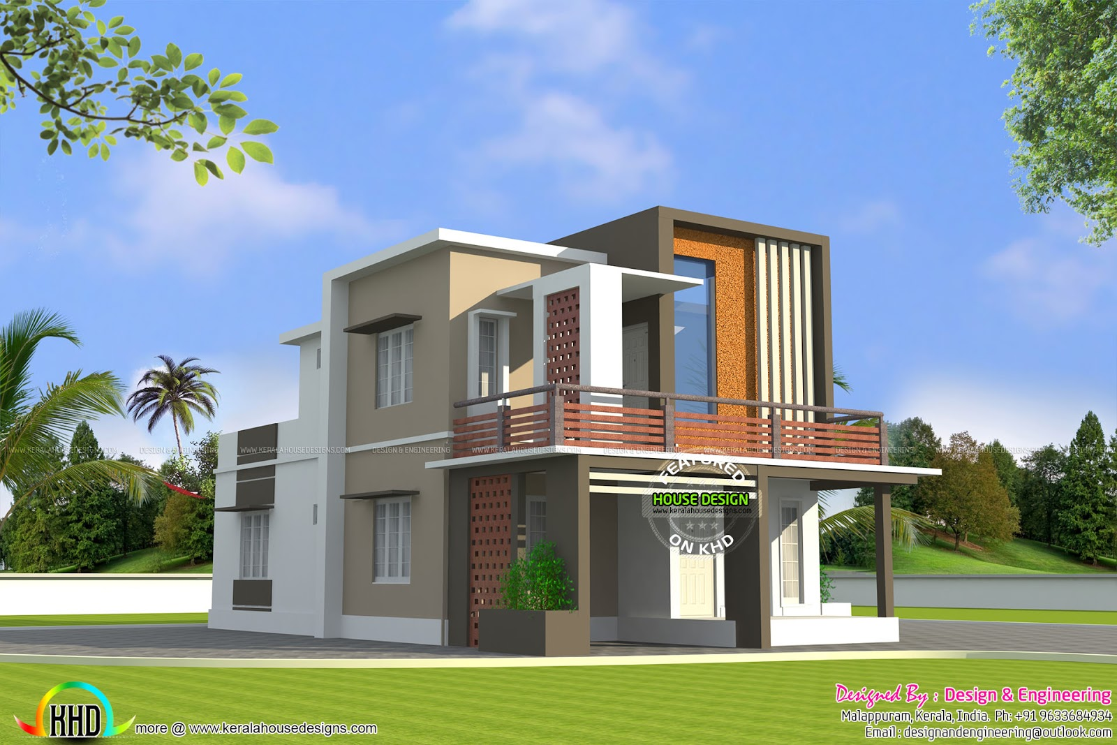 Low cost double floor home plan kerala home design and for Home palns
