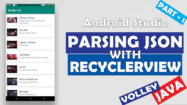 Parsing JSON For RecyclerView with Volley | Android Basic App Development Tutorials