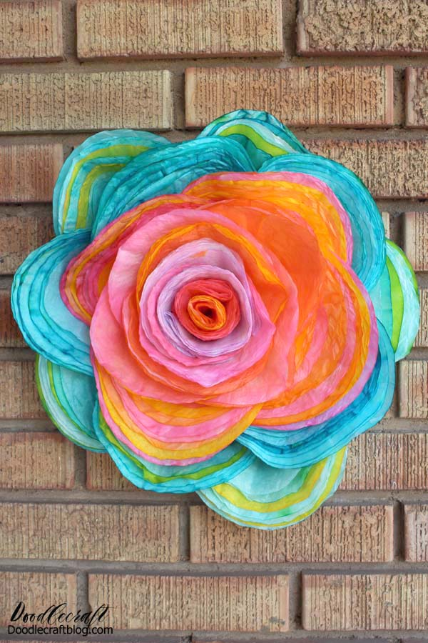 How to make a stunning, vivid colors, layered coffee filter rose with 115 coffee filters.