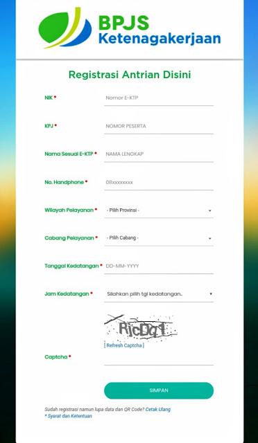 Formulir registrasi antrian online BPJAMSOSTEK model lama