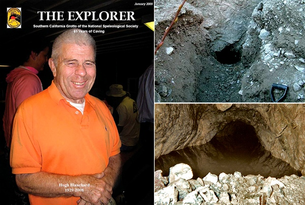 A composite of the hard to find Gold Ridge Mine portal with explorer Hugh Blanchard on the left.