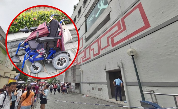 Pria Berkursi Roda Meninggal Dunia Setelah Lompat dari Ketinggian dan jatuh didepan Pintu Wong Tai Sin Temple Mall North