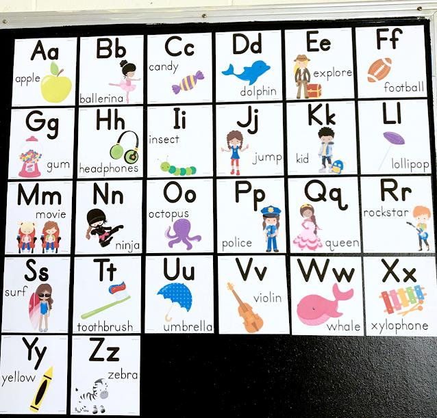 Kindergarten alphabet display