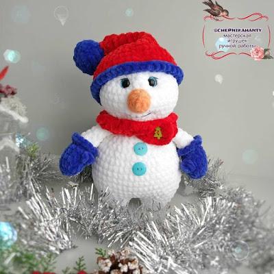 Снеговик Снежок крючком
