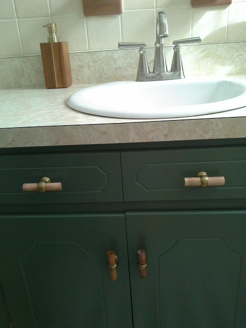 Vintage Bathroom Makeover green cabinets new american standard faucet