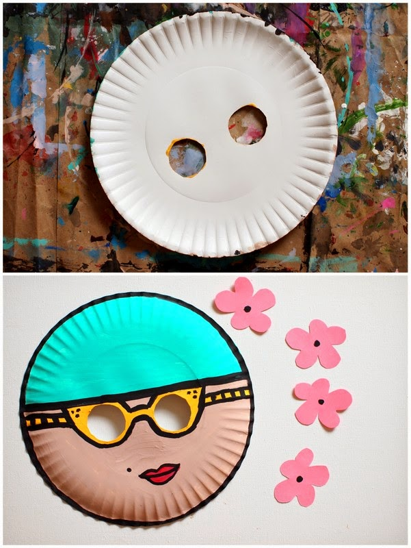 Make a Paper Plate Mask with Kids (Vintage Swimmer)
