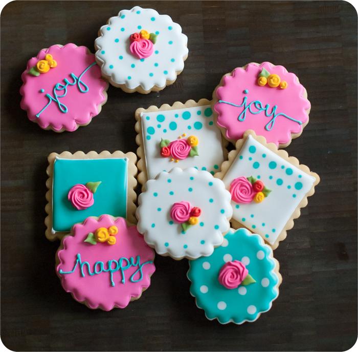happy happy joy joy spring floral decorated cookies