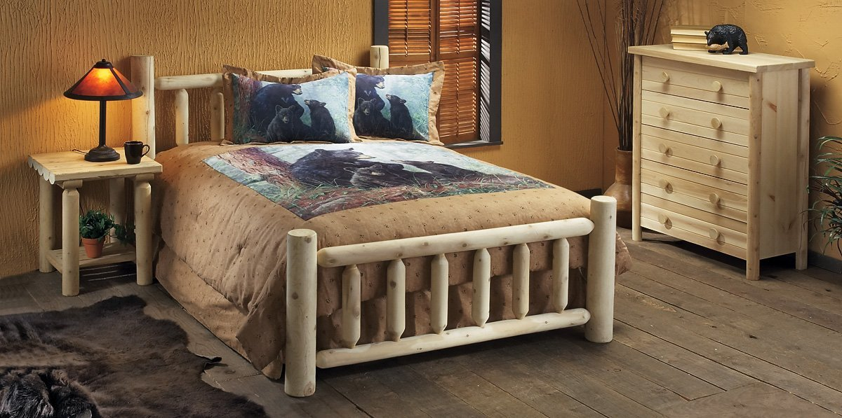 Rustic lodge log cabin themed bedding sets for Log cabin style bunk beds