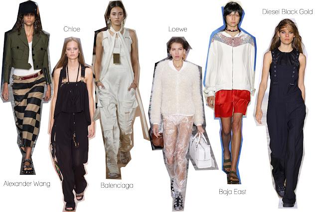 S/S 16, trends, bomber jacket, jumpsuit, designer, runway, Alexander Wang, Chloe, Balenciaga, Loewe, Diesal Black Gold