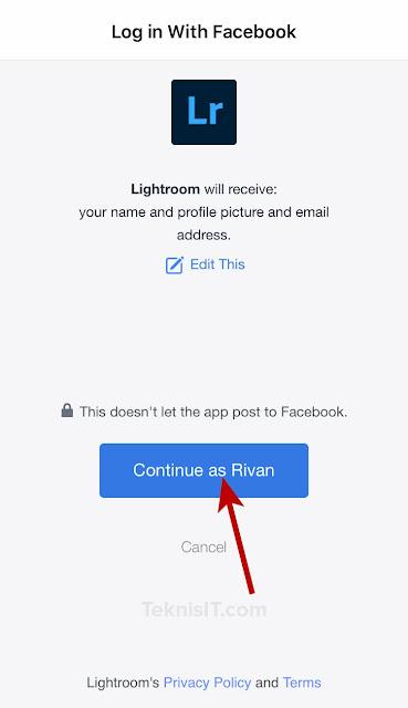 Cara daftar Lightroom dengan Facebook