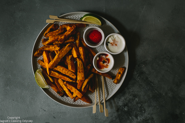air fryer crispy masala sweet potato fries