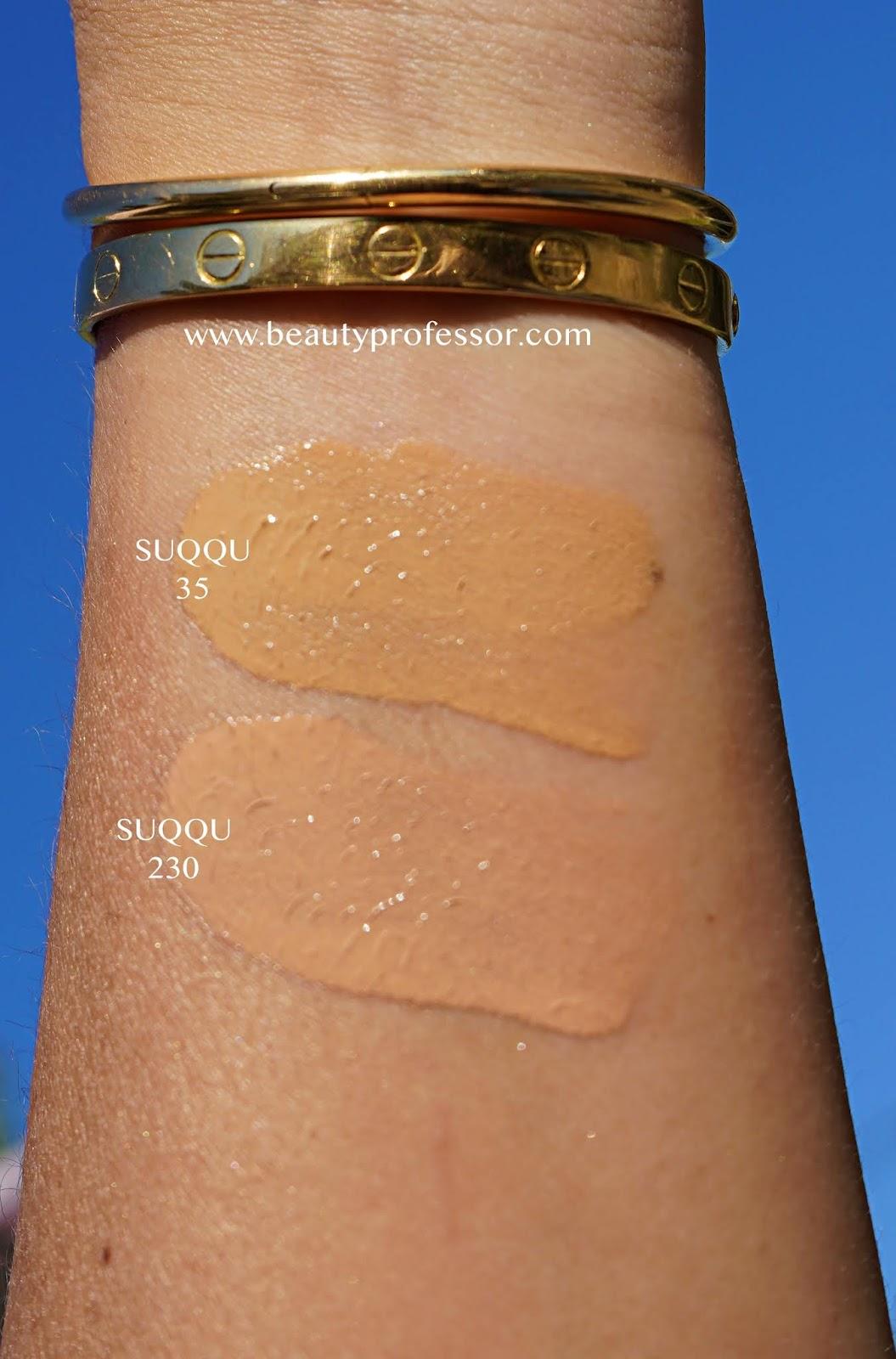 SUQQU Nude Wear EX Liquid Foundation swatches