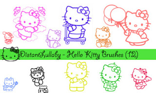 12 Lindos pinceles de Hello Kitty