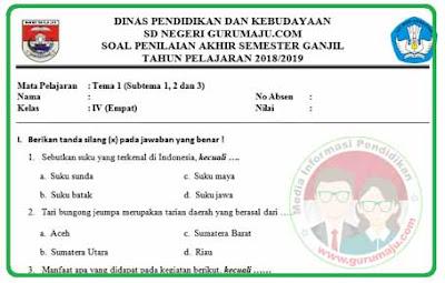 Soal UAS / PAS Kelas 4 Tema 1 Kurikulum 2013 Revisi 2018