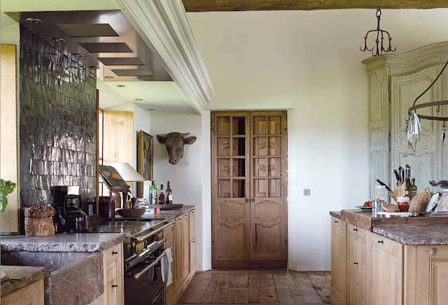"Kitchen on the renovated estate ""Vaucelleshof"" via the Garnier (be) website (Vivre Country feature) as seen on linenandlavender.net"